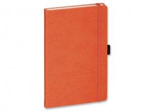 LANYO II poznámkový zápisník s gumičkou 132x213 mm, oranžový
