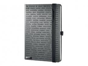 LANYBOOK THE ONE IV poznámkový zápisník s gumičkou 140x205 mm, černý