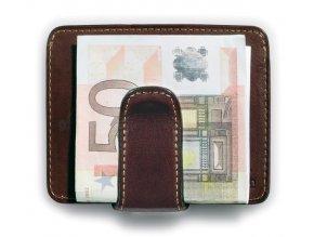 Kožené pouzdro na karty se sponou na bankovky Tony Perotti 2553, tm. hnědá