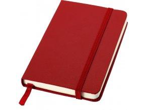 Poznámkový zápisník A6 s elastickou zajišťovací páskou, červený