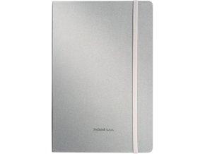 Poznámkový zápisník A5 s elastickou zajišťovací páskou, stříbrný