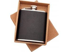 Butylka obšitá černou pravou kůží v dárk. krabičce