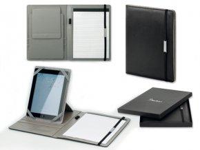CESARIO mapa na dokumenty z imitace kůže se stojanem na tablet a blokem A4, černá
